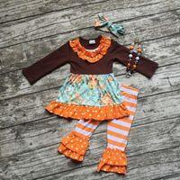 Wholesale Striped Ruffle Pants - 2017 Hot Sale Baby Girls folk-custom printing outfits top+ruffle Pants+headband 3pcs set kids suit C1802