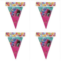 Wholesale Decoration Birthday Baby - Banner Trolls Moana Theme Flag Party Decorations Baby Happy Birthday Wedding Event Party Supplies for Kids DHL Free Shipping