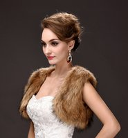 Wholesale Online Wedding Jackets - In Stock Brown Faux Fur Short Jackets For Winter Special Occasions Sleeves Cheap Women Wedding Wraps 2018 Online Sale CPA970