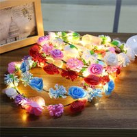 All'ingrosso-LED Holiday Light Glowing Wreaths Flower Hairband Crown LED Fata Festa di nozze di Natale Ghirlanda luce stringa decorazione