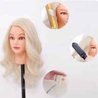 Wholesale Female Popping - Great Quality Hairdressing Head Mannequin For Sale Nice female dolls head Kappers pop 70% blonde human hair mannequin head