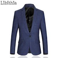 Wholesale Mens Fashion Luxury Casual Slim - Wholesale- Plaid Mens Casual Blazer Slim Fit Men Wool Blazer One Button Suit Jacket Blue Big Size 5XL 6XL Coat Luxury Fashion Clothes Party