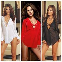 fc15c21fce 3PC Suit Women Sexy Lingerie Shirt+Bra+Panty Short Dress Perspective Gauze  Chiffon Sleepwear Underwear