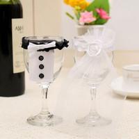 Wholesale Bride Groom Wine Glasses - Wholesale-Bride & Groom Tux Bridal Veil Wedding Party Toasting Wine Glasses Decor