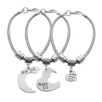 Wholesale Big Sister Silver Charm - 3Pc Set Big Sister Little Sister Bracelet For Women Carved Moon Heart Puzzle Bracelets & Bangles Best Friends Love Bead Pulseras