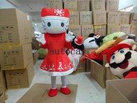 gatito mascota al por mayor-Hello Kitty trajes de la mascota para adultos navidad Traje de Halloween Traje de disfraces Envío gratis Navidad