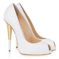 ingrosso alligatore scarpe donne-donne scarpe cono tacco alligatore peep toe tacchi alti scarpe da sposa donna spedizione gratuita