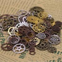 Wholesale Metal Punk Necklaces - Hot 500g Mix Vintage Charms Rose Gold Bronze Silver Steam punk Gear Pendant Antique silver Fit Bracelets Necklace DIY Metal Jewelry Making