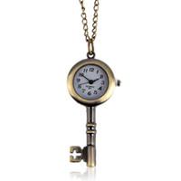 Wholesale Antique Pocket Watches Skull - Wholesale-Fashion Retro Skull Skeleton Watch Women men Quartz Pocket Watch Vintage Pendant Male Clock Bronze