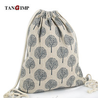 Wholesale Cotton Drawstring Shoe Bags - Wholesale- TANGIMP Cotton Linen Drawstring Backpack Girl Student Sunflower Daffodil Tree Women harajuku Traveling Luggage Shoes Beach Bags