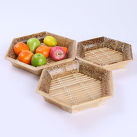 Wholesale Plated Basket - environmental protection handmade practical bamboo lace hexagonal plate creative fruit and vegetable basket bamboo serie food picnic basket