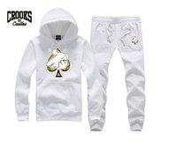 kale seti toptan satış-Crooks ve Kaleler eşofman Marka Giyim Erkekler Eşofman Uzun Kollu Erkek Tişörtü + Pantolon 2 Parça Setleri Hip Hop Homme Koşu Fabrika