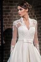 Wholesale Wedding Sheer Boleros - Plus Size Lace High Neck Wedding Wraps With Long Sleeves Sheer Bolero Jackets Tulle Bridal Accessories Custom Made