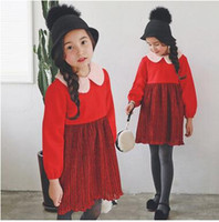 Wholesale Long Woolen Dresses - Mother and Daughter Christmas Dress Girls Woolen Lapel Long Sleeve Dress Women Pleated Red Dress New Autumn Family Fashion Clothing C1359