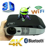 Discount android led lcd - Wholesale-Bluetooth 4.0 Android 4.4 Wifi 3000ANSI HDMI VGA USB Blue Ray 3D Portable HD 1080P LCD Video LED Mini DLP 4K Projector Proyector