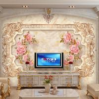 Wholesale European Classic Sofa - Custom Photo Wall Murals Marble Textured Wall Rose Flower Mural Wallpaper For Walls 3 D Living Room Sofa TV European Luxury Background Decor