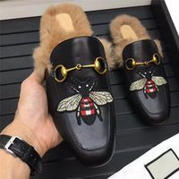 Slip-On black honey bee - 2017 autumn winter now style fashion comfortable flat trend low animal prints honey bee custom rubber flat breathable true animal hair shoes