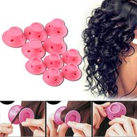 Wholesale Soft Spiral Rollers - 10Pcs Soft Silicone Pink Hair Spiral Rollers Mushroom Curlers DIY Magic No Clip Curling Iron Wand Curl Hair Styling Tools
