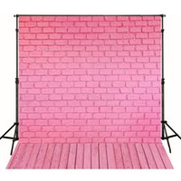 Wholesale Cute Babies Children Photo - Pink Brick Wall Photographic Background for Photo Studio Wood Floor Cute Newborn Baby Vinyl Backdrops 5x7ft