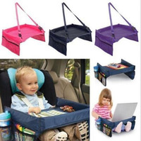 Wholesale travel trays car - 5 Colors Baby Car Safety Belt Travel Play Tray Waterproof Foldable Table Baby Car Seat Cover Pushchair Snack With Opp Package CCA6503 50pcs