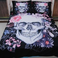 Wholesale Brown Twin Bedding - Hot Sale High Quality 3pcs Corpse Bride Skull 3D Bedding Set Single Queen King Size Duvet Cover Pillowcases Sets Pink Flower Bed
