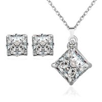 Wholesale Magazine Korean - Fine Jewelry sets Korean fashion magazine New zircon jewelry set with square diamond micro Necklace Earrings Set