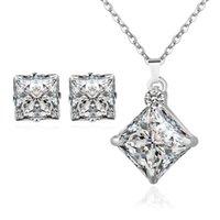 Wholesale Magazine Korean - Fine Jewelry sets Korean fashion magazine New zircon jewelry set with square diamond micro Necklace Earrings Set