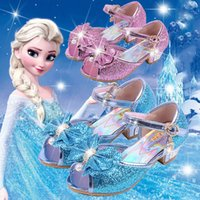 Wholesale Wholesale High Fashion Shoes - 2017 new Elsa Anna sandals Fashion girls high-heeled shoes Sequined bow baby Princess shoes 4 colors C2237