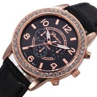 Wholesale Vogue Watch Bracelet - Crystal Dial Quartz watch Analog PU Leather Bracelet Wristwatch Vogue Women watches men Geneva Wristwatches Relogio Feminino 10Colors