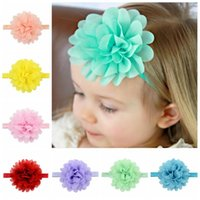 Wholesale Newborn Baby Girl Head Bands - Baby Headbands Flowers Girls Elastic Headband Chiffon Flower Head bands Newborn Infant Hairbands for Girls Children Hair Accessories KHA297