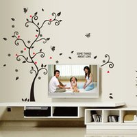 Wholesale Chic Bedroom Decor - New Chic Black Family Photo Frame Tree Butterfly Flower Heart Wall Sticker Living Room Decor Room Decals 0706013
