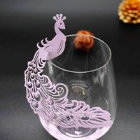 Wholesale Peacock Place Cards - HOT 50pcs Peacock Place Name Card Wine Glass Card Laser Cut Paper Cup Card Table Mark Wedding Party Decoration
