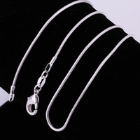 Wholesale Mixed Sizes Chain - 100pcs 925 silver smooth snake chains Necklace 1MM snake chain mixed size 16 18 20 22 24 inch Free Shipping