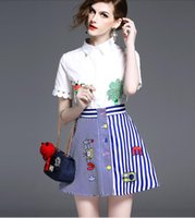 Wholesale Mini Skirt Shirt Sets - Summer Women Fashion Two Piece Sets Ladies Elegant White Embroidery T Shirts Short-Sleeved Blouses + Girls Blue White Striped A-Line Skirts