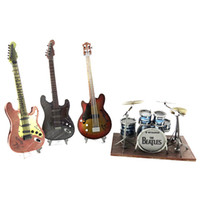 Wholesale 3d Puzzle Guitar - Beatles Timeless classic Color puzzle 3D Metal assembly model Guitar bass Drum Kit Paul Collection of ornaments DIY