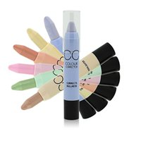Wholesale Fresh Concealer - CC Green purple pink nude fresh concealer with a black eye bag with black eyes 6 colors 12pcs lot