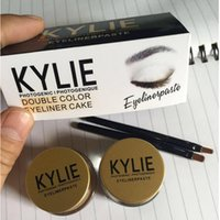 Wholesale Quick Easy Cakes - Kylie Eyeliner Kylie Cosmetics Kyliner In Brown AND Black   Kit Double color Eyeliner Cake Gei Eyeliner VS Kylie eyeshadow Ana Glow kit