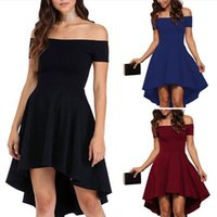 Wholesale Swallow Tail Hem Dress - New Women Festive Dress Ladies Swallow-tailed High Low Hem Off Shoulder Party Female Midi Dress CWC0306
