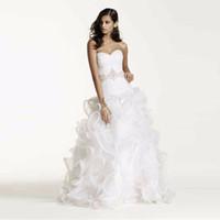 Wholesale Embellished Wedding Dresses - Ruffled Skirt Wedding Gown with Embellished Beading Waist Sweetheart Designer Organza Custom Made Bridal Gowns SWG492
