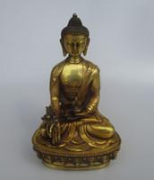 antikes gold buddha-statue großhandel-Artantique High 8-Zoll-Antik-Buddha, Sammlerstück alten chinesischen Messing geschnitzt Light Buddha-Statue