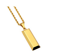 Wholesale Dance Gold Necklace - Cube Bar Bullion Necklace & Pendant Gold Plated Star Men Hip Hop Dance Charm Franco Chain Hip Hop Golden Jewelry For Gifts