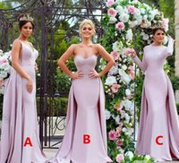 Wholesale Cheap Maid Honour Dresses - Cheap Pink Mermaid Long Bridesmaid Dresses 2017 Strapless Soft Satin Long Sleeve Wedding Guest Dress Maid Of The Honour Gowns