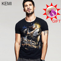 Wholesale Rocker T Shirts - Wholesale- 2016 Fashion harajuku 100% cotton men's Short Sleeve 3d animal Printed T-Shirt hip hop wild Tee Shirts Hipster Cool rocker