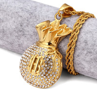 Wholesale Cool Fashion Bags For Men - 18k Gold Plated Purse Pendant Necklace Rhinstone US Dollar Sign Cool Fashion USD Money Bag Shape Hip Hop Men Jewelry For Gifts