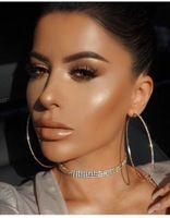 Wholesale 14k White Gold Hoops - Women Brand Crystal Circle Hoop earrings Fashion Punk jewelry Rhinestone earring pendant Gold earring club Hiphop Bijoux 2017