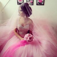 ingrosso bling abiti da sposa-Vestidos De Novia Colorful Pink Sweetheart in rilievo di cristallo Tulle Ball Gown Abito da sposa 2017 Bling Abiti da sposa Abiti da sposa