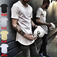 Wholesale Wholesale Black Long Sleeve Shirt - 2017 men's T Shirt Kanye West Extended ZSIIBO T-Shirt Curved Hem Long line Tops clothing Tees Hip Hop Urban Blank Justin Bieber TX135-F