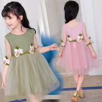 Wholesale Korean Christmas Dress - 2017 Summer Children Girls Dress Korean Gauze Sleeve Dress With Pure Color Flowers Dress Children Clothes J6018