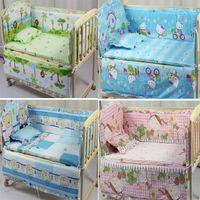 bebekler için hayvan yatak takımları toptan satış-Toptan Bebek Odası Dekor 5 Adet / takım Hayvan Bebek Yatak Seti% 100% Pamuk Perde Beşik Tampon 100 * 58 cm Yıkanabilir Bebek Yatağı Tampon