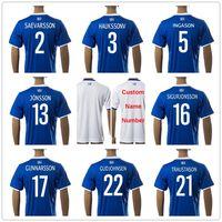 Wholesale Soccer Jerseys Uniforms Football - Iceland Soccer Jerseys 6 SIGURDSSON 5 INGASON 9 SIGTHORSSON 17 GUNNARSSON 22 GUDJOHNSEN 21 TRAUSTASON 13 JONSSON Football Shirt Uniform